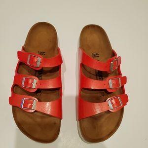 Birkenstock 3 Strap Red Sandals size 41 10